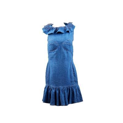 ruffle neckline denim dress navy